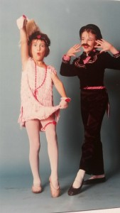 Me (right) and friend, both aged 7, posing for a photo after our award-winning Charleston