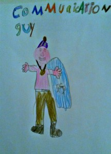 A picture of a super hero drawn by my then-7-year-old. Explanation about him is in the interview text.