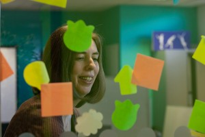 Sarah with post-it notes