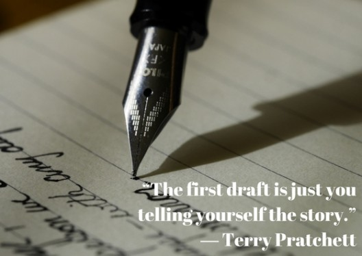 Picture of an ink pen nib with the words 'The first draft is just you telling yourself the story'