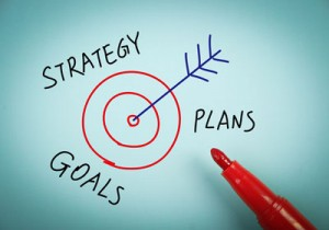 A drawing of a target with an arrow in the middle with the words strategy, plans and goals written round the outside