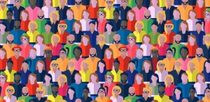 Drawing of lots of people of different shapes, colours etc to indicate a group of people together