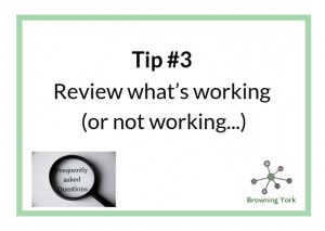 Sign showing Tip #3 Review what's working