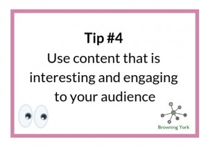Sign showing Tip #4 Interesting content