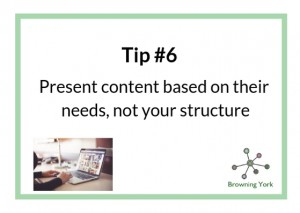 Sign showing Tip #6 content on their needs