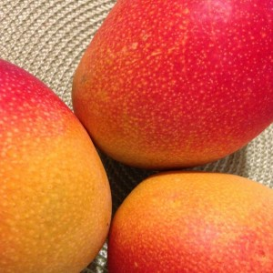 Three mangoes on a table