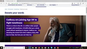 Screen print of Age UK with Cadburys Donate Your Words campaign