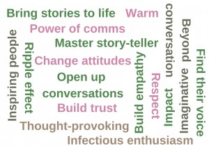 Word cloud with words like warm power of comms change attitudes build empathy master story-teller thought-provoking