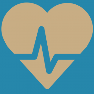 Illustration of a grey heart shape on a blue background with a jagged pulse line across it