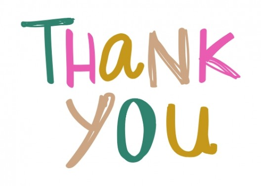 The words thank you written in colourful script