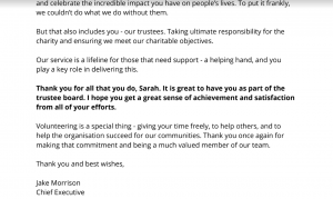 Volunteers Week letter from my Chief Exec thanking me for being a trustee