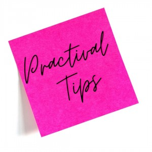 A pink post-it with the words practical tips written on it
