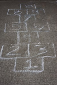 Chalk hopscotch drawn on ground
